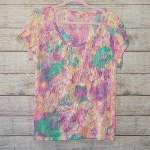 Relativity Burnout Floral Print Short Sleeve Tee